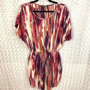 EXPRESS Multicolored Short Sleeve Cocktail Dress